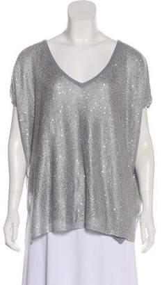 Minnie Rose Sequin-Embellished Short Sleeve Blouse