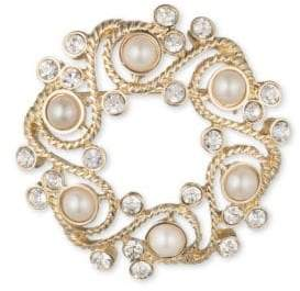 Anne Klein 6MM White Freshwater Pearl and Crystal Wreath Brooch