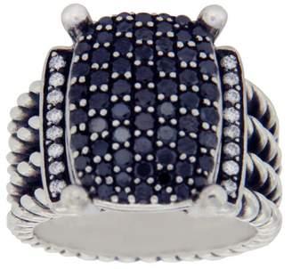 David Yurman 925 Sterling Silver Black & White Diamond Wheaton Cable Ring 5.5