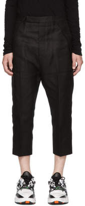 Rick Owens Black Cropped Cargo Trousers