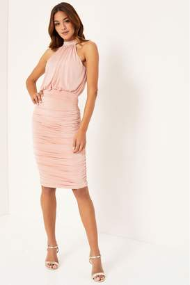 Lipsy Ruched Slinky Dress - 6 - Pink