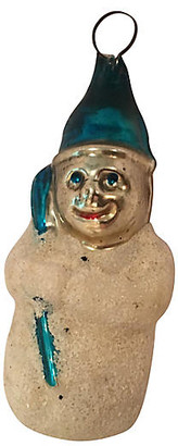 One Kings Lane Vintage Antique Frosted Glass Snowman Ornament