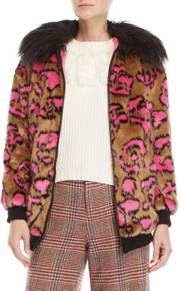Manoush Leopard Print Faux Fur Jacket