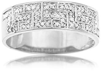 Ornami Glamour 9ct White Gold Diamond Greek Key Band Ring - Size W