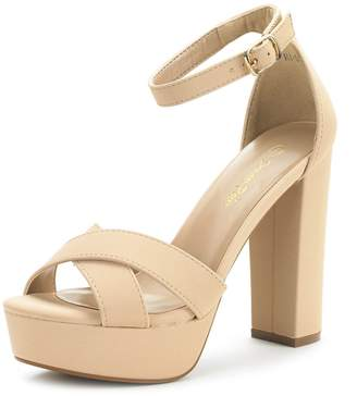 DREAM PAIRS HI-GO Women's Evening Dress Ankle Strap Buckle Peep Toe Chunky High Heel Platform Pump Shoes Size 9.5