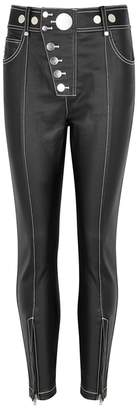 Alexander Wang Black Contrast-stitch Coated Jeans