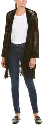 BCBGMAXAZRIA Open-Knit Fringe Cardigan