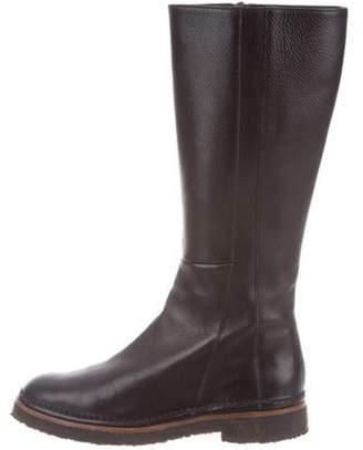 Salvatore Ferragamo Leather Round-Toe Boots Black Leather Round-Toe Boots