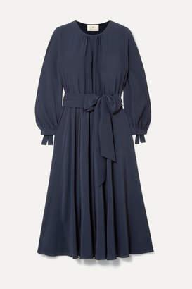 ARoss Girl x Soler Amanda Belted Gathered Silk-chiffon Midi Dress - Navy
