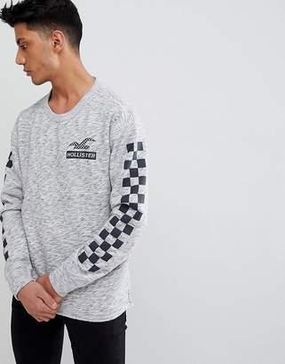 Hollister Checkerboard Sleeve Crew Neck Sweatshirt in Grey Marl