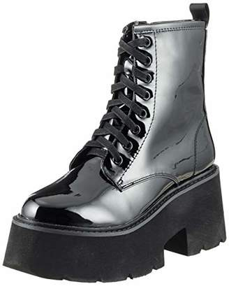 Buffalo David Bitton Women's Lh-829 Metallic Pu Combat Boots, (Black 01 00)