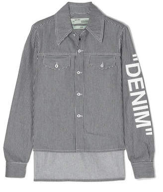 Off-White Asymmetric Striped Denim Shirt - Blue