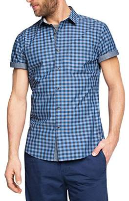 Esprit EDC by Men's Vicky Check Slim Fit Short Sleeve Casual Shirt,X-Small