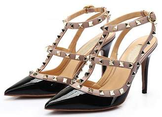 314a27d41372 CAMSSOO Women s Fashion Rivet Studded High Heel Ankle Strap Pointed Toe Sandals  Pumps Shoes Patent Leather