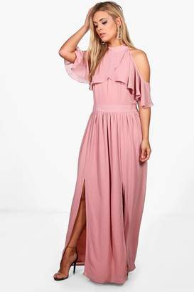 boohoo Plus Chiffon Frill Open Shoulder Maxi Dress
