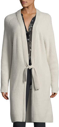 Vince Tie-Front Ribbed Wool-Cashmere Cardigan