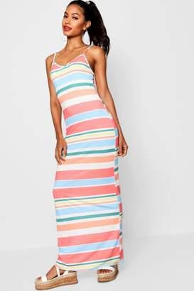 boohoo Striped Strappy Jersey Maxi Dress
