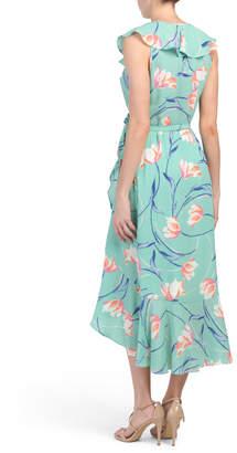Donna Morgan Floral Bubble Crepe Ruffle Wrap Dress