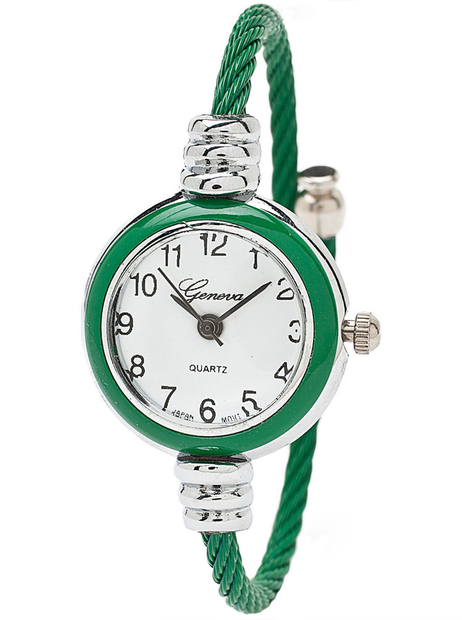 American Apparel Kelly Green & Silver Geneva Bangle Watch