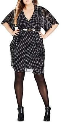 City Chic Plus Dot-Print Dress