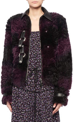 Altuzarra Snap-Front Tie-Dye Shearling Bomber Jacket w/ Leather Trim