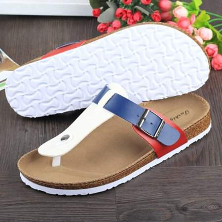 YSJX Women Buckle T Strap Sandal Footbed Sandals Flat Platform Flip Flops Shoes