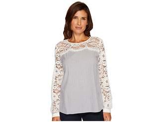 CeCe Long Sleeve Yarn-Dye Pinstripe Lace Yoke Blouse Women's Blouse