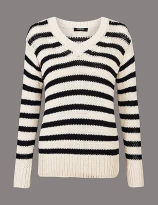 Marks and Spencer Cotton Blend Striped V-Neck Jumper