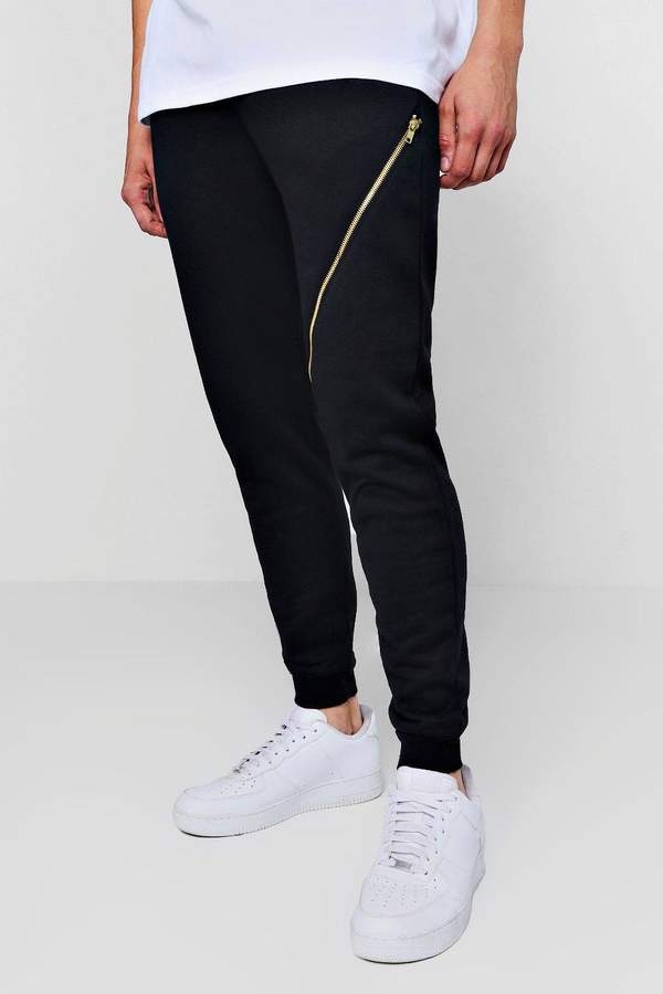 boohoo Skinny Joggers With Gold Zips