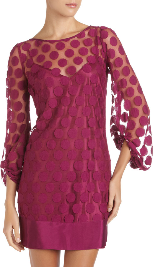 Laundry by Shelli Segal Dot-Lace Shift Dress