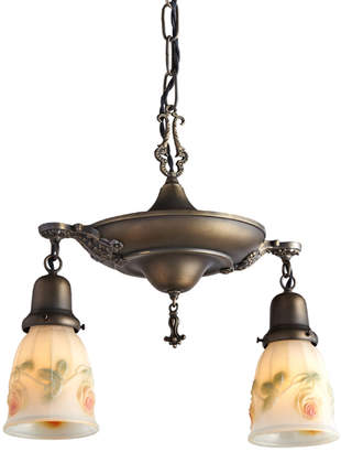 Rejuvenation Suspended Aladdin Pan Pendant w/ Painted Shades