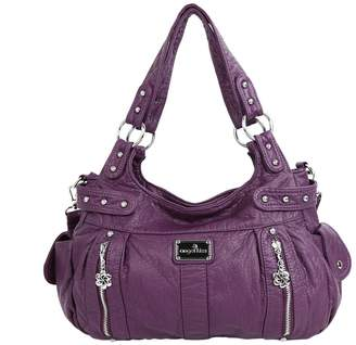 Angelkiss 2 Top Zippers Large Capacity Handbags Washed Leather Purses Shoulder Bags AK19244/2