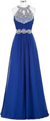 WAWALI Halter Keyhole Formal Prom Dresses Evening Party Gowns
