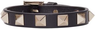Valentino Black Leather Rockstud Bracelet $195 thestylecure.com
