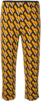 Siyu geometric print cropped trousers
