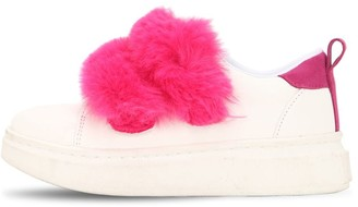 Colors of California FAUX LEATHER STRAP SNEAKERS W/ FAUX FUR