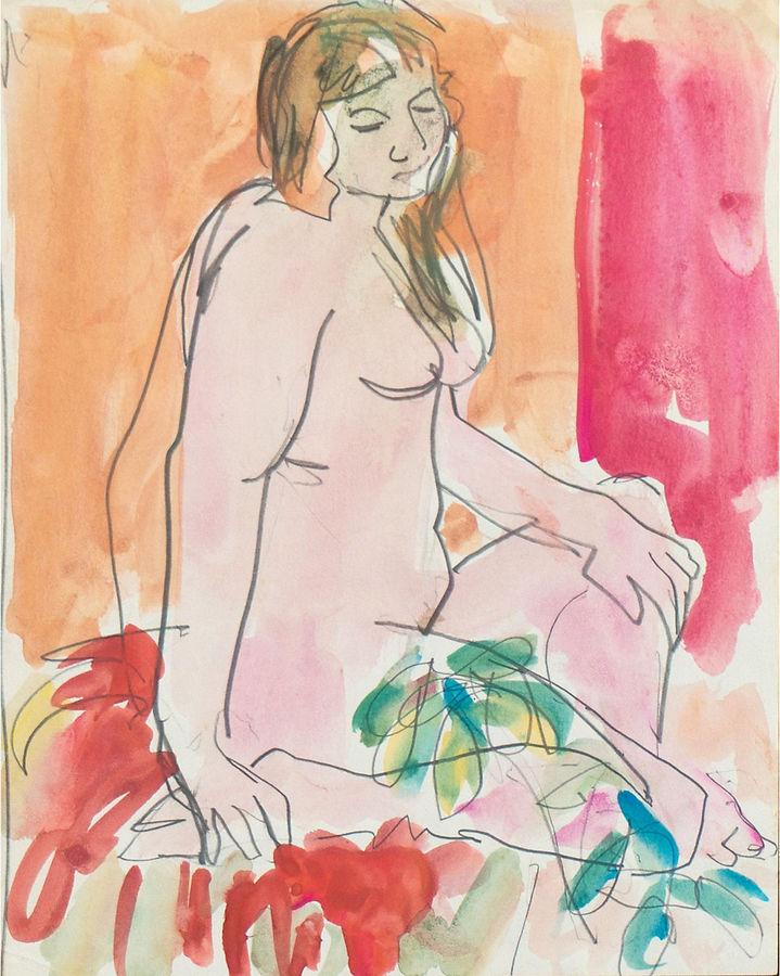 One Kings Lane Vintage 1950s Nude w/ Flowers by Victor Di Gesu