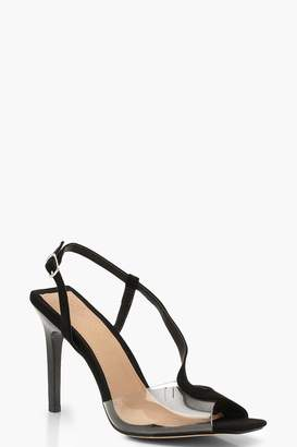 boohoo Clear Panel Asymmetric Square Toe Heels
