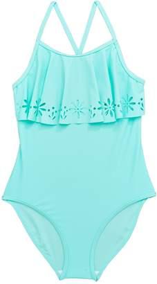 Very Girls Laser Cut Frill Swimsuit - Blue