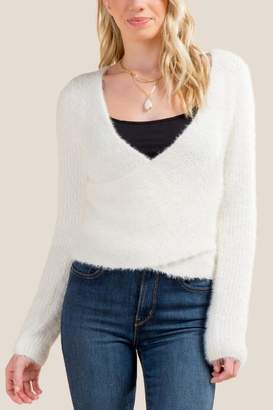 francesca's Vienna Surplus Cropped Cozy Sweater - Ivory