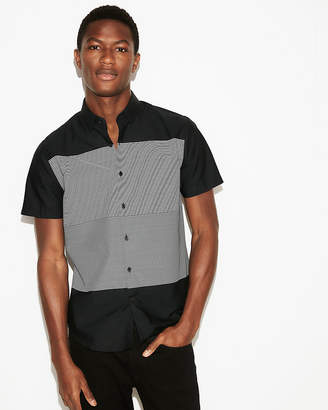 Express Slim Mixed Stripe Short Sleeve Cotton Shirt