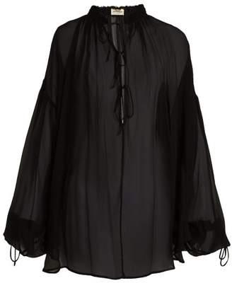 Saint Laurent Blouson Sleeve Mousseline Crepe Blouse - Womens - Black