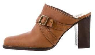Michael Kors Leather Square-Toe Mules