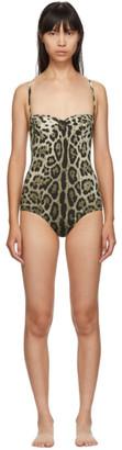 Dolce & Gabbana Tan Leopard One-Piece Swimsuit