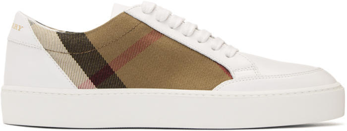 Burberry White Salmond Check Sneakers