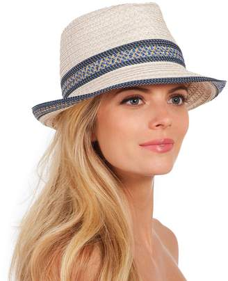 Eric Javits Luxury Fashion Designer Women's Headwear Hat - Big Deal - /Blue Tweed