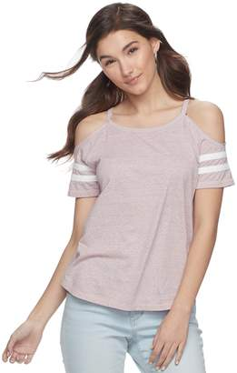 So Juniors' SO Varsity Cold-Shoulder Tee