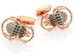 Tateossian Swarovski Crystal Scarab Cuff Links