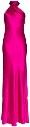 Pandora Galvan halterneck silk maxi dress