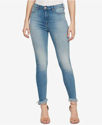 William Rast Super-Skinny High-Rise Frayed-Cuff Jeans